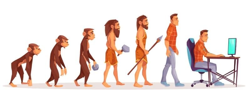 Ape evolving to man with computer