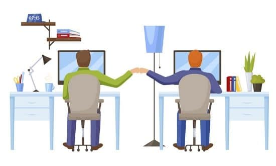 Graphic depicting a business working with us to gain better web accessibility compliance.