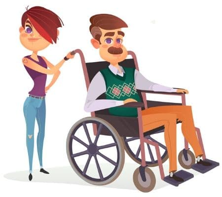 Daughter with her father with limited motor skills in a wheelchair.