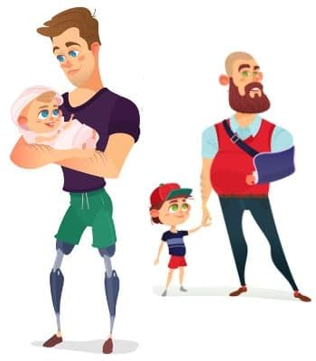 A man holding his baby and a father with a broken arm holding his son's hand.