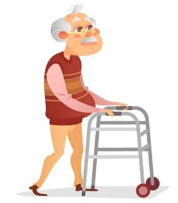 Elderly man with eye classes and a walker.
