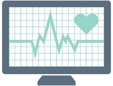 Graphic of a monitor with a pulse line and heart to represent website vital signs.