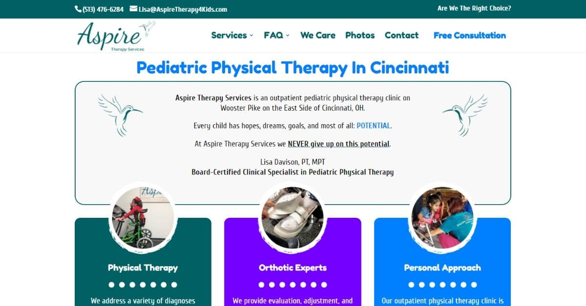 Physical Therapist Website in Cincinnati