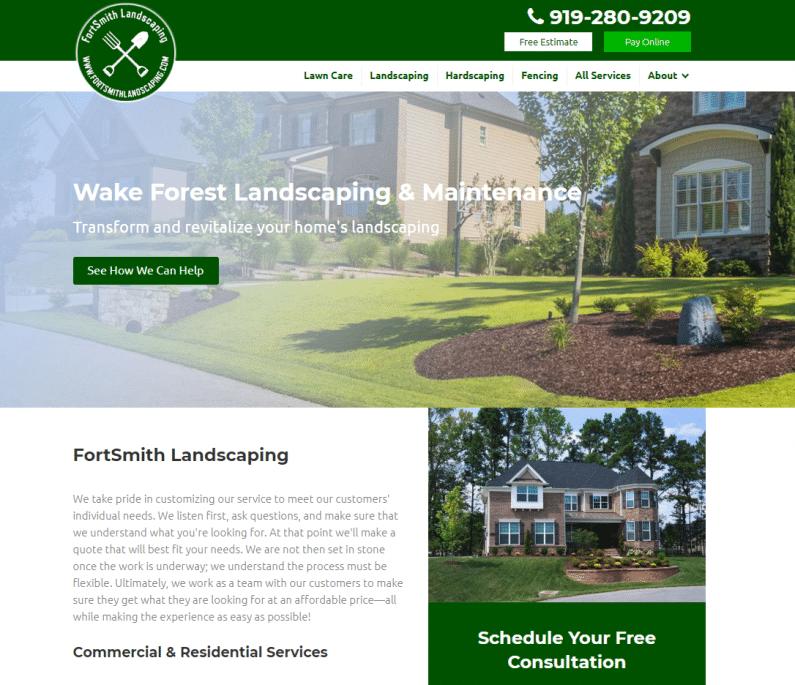 Screenshot Fortsmith Landscaping website