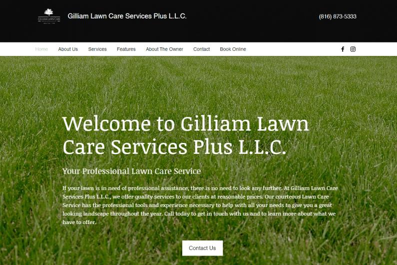 Screenshot Gilliam Lawn Care Services Plus website.