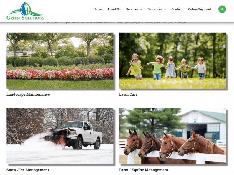 Screenshot Green Solutions Landcare website.