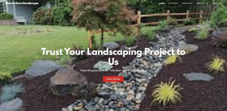 Screenshot Mower Lawn Landscape website.