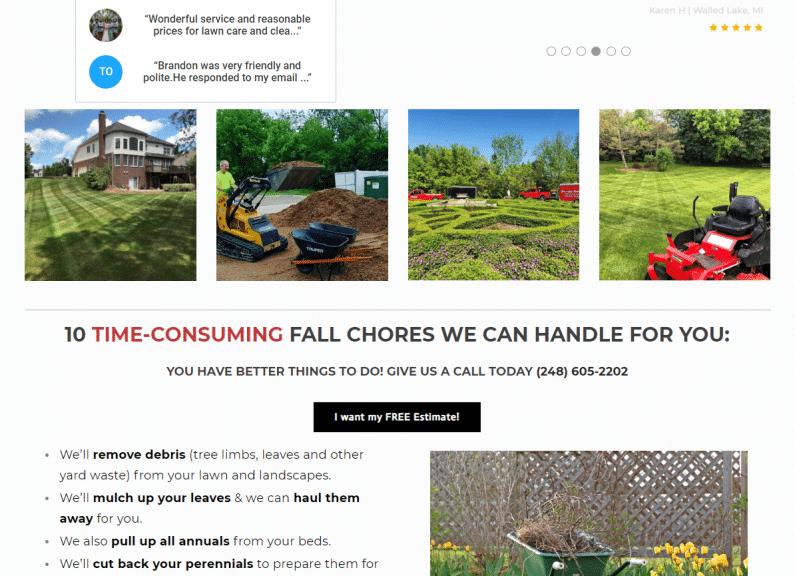 Screenshot Priority One Lawn website.