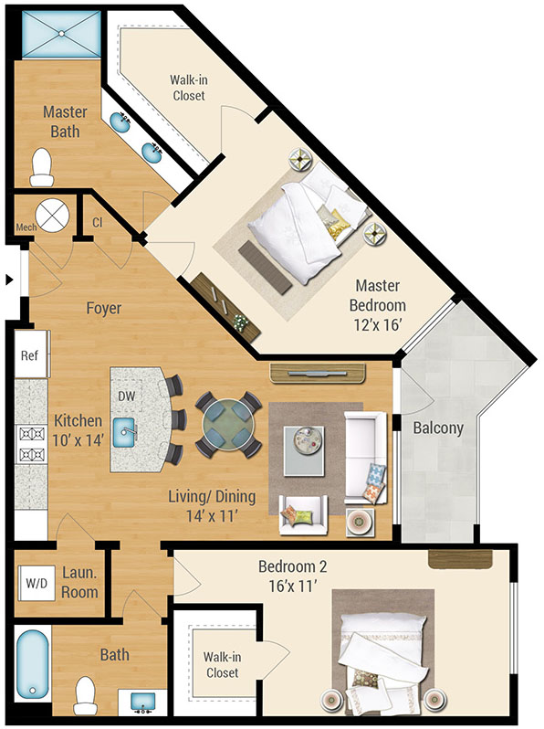 Aqua on the Levee Apartment Floor Plan