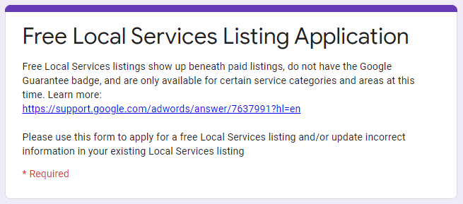 Free Local Service Listing Application