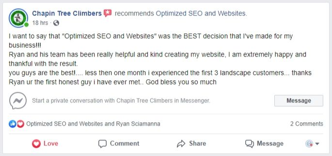Leo Garden Care Optimized SEO and Website Facebook Review
